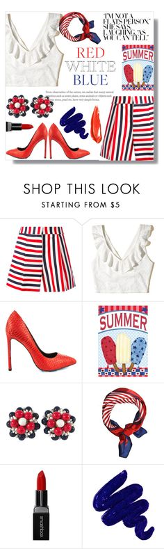 """""""Red White &a Blue #fourthofjuly"""" by londynalei ❤ liked on Polyvore featuring Thom Browne, Hollister Co., TaylorSays, Miriam Haskell, Smashbox and Obsessive Compulsive Cosmetics"""