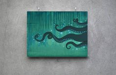 A whimsical take on the Cthulhu sea monster moving through the depths of the ocean. Original • Oil and Acrylic Paints • Stretched Canvas • Painted edges - no need for a frame • 16x12 Print Options • Fine Art Paper - 230gsm (semi-thick white paper) • Smooth Fine Art Paper - 300gsm (thicker paper) • Textured Fine Art Paper - 340gsm (hardy paper with texture)