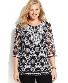 INC International Concepts Plus Size Embroidered Printed Top