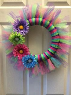 Items similar to Spring Tulle Wreath on EtsyShop for spring wreath on Etsy, the place to express your creativity through the buying and selling of handmade and vintage goods. Tulle Projects, Tulle Crafts, Wreath Crafts, Diy Wreath, Wreath Making, Wreath Ideas, Easter Wreaths, Holiday Wreaths, Holiday Crafts