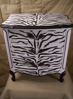 Zebra Print handpainted French provincial Night Stand. $495.00, via Etsy.