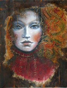 Amazing art by Angela Betta Casale / Фантастические картины Angela Betta Casale… Betta, Girl Face Drawing, Face Art, Woman Painting, Painting & Drawing, Illustrator, Art Visage, Art Through The Ages, Texture Painting