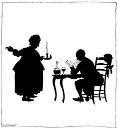 Silhouette illustration from 'The Illustrated Cinderella' – by Arthur Rackham http://www.amazon.com/gp/product/1447477987/ref=as_li_tl?ie=UTF8&camp=1789&creative=9325&creativeASIN=1447477987&linkCode=as2&tag=reaboo09-20&linkId=WDAQ4DHO63MKFN6W