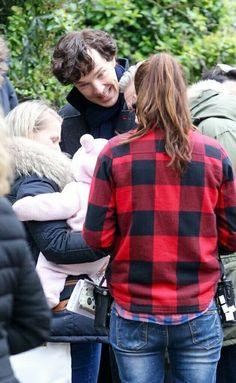 Benedict Cumberbatch and Marin Freeman having fun with Baby Watson on set of Sherlock season 4 #setlock