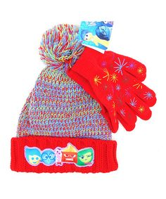 Another great find on #zulily! Red Inside Out Hat & Gloves #zulilyfinds