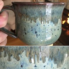 Blue rutile with ancient jasper on the rim. Fired twice cone 6 oxidation. Amaco glazes. #mug #mugshot #mugshotmonday #amacoglazes #pottery #ceramics #wheelthrown by matthew_fitzsimmons