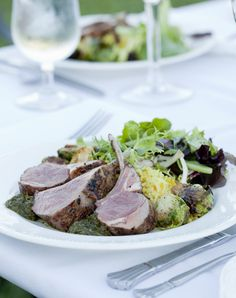 Smoke-Roasted Prairie Grass Farms Rack of Lamb with Mint and Chile Chimichurri, Missouri Long-Grain Rice Pilaf and Caramelized Brussels Sprouts Lamb Recipes, Dinner Recipes, Rack Of Lamb, Long Grain Rice, Chimichurri, Farms, Roast, Mint, Favorite Recipes
