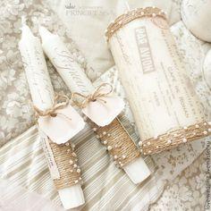 """Купить """"Любовные письма"""" свечи свадебные - бежевый, Аксессуары handmade, аксессуары, аксессуары для свадьбы"""