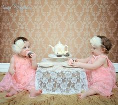 tea party photo shoot ideas | My twin girls first tea party shoot. Photo by Images by Ginny.