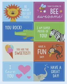 Over thirty of my favorite printable lunch box notes to slip in your kid's lunch this year when they go back to school! Stock up on these lunch box notes! Lunchbox Notes For Kids, Kids Notes, Kids Lunch For School, Back To School, School Lunches, College Lunch, Kindergarten Lunch, Toddler Lunches, Kid Lunches