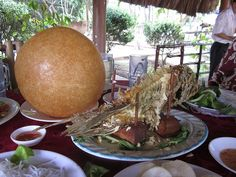 Dinosaur egg and fish platter in Vietnam