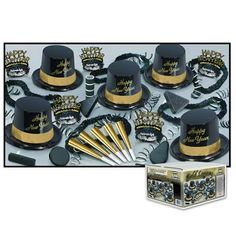 "Gold Legacy Assortment for 10 (a complete set good for 10 people; includes 5 black hat toppers, 5 gold & black tiaras, five 9"" gold horns, 5 black leis, 5 black noise makers, and 20 black & white serpentine throw)"