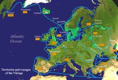Territories and voyages of the Vikings (Pinners note: The map fails to account for numerous raids up the Seine and the subsequent siege of Paris in 845.)
