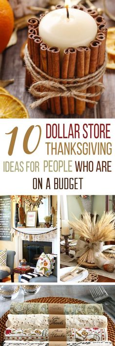 These 10 Dollar Store Thanksgiving DIY Ideas are THE BEST! I'm so happy I found these GREAT Dollar Store decor ideas! Now I have some great ways to decorate my home this Thanksgiving! Definitely pinning!