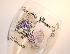 Mother of the Groom Wine Glass, Glasses, Water Goblets, Bride, Mom, Parents, Wedding, Engagement, Rehearsal Dinner, Gifts, Bouquet, Cake, Dress, Veil, Rings, Hat, Bow Tie, Red, Pink, Green, Black, Silver, Personalized, Monogrammed, Dated, Custom, Painted, Stemware, Glassware, Barware by Flutterby Glass #CraftedwithPassion #flutterbyglass http://www.flutterbyglass.com