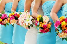 Wedding Flower Bouquets - Tiffany Blue, Pinks, Oranges, Creams, Bridesmaids Bouquet, Centerpiece, Cake Topper, Colorful, Spring, Vibrant