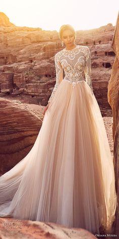 oksana mukha 2018 bridal long sleeves jewel neck heavily embellished lace bodice tulle skirt romantic a line wedding dress covered lace back royal train (khalissa) mv -- Oksana Mukha 2018 Wedding Dresses
