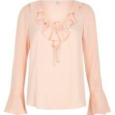 e2801c846a River Island Womens Light pink frill V neck blouse River Island Womens