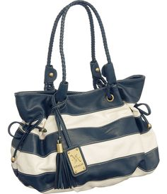 Oversized ''St. Croix'' Tote By Vitalio, a nice marine look. Maybe wear with white pants.