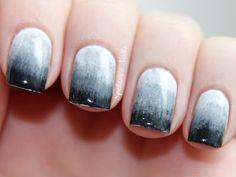 Ombré Nails, grey Gradient by Spektors Nails http://www.spektorsnails.com/2012/04/grey-gradient-nails.html