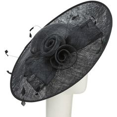 John Lewis Helen Rose Bow Disc Occasion Hat , Black ($115) ❤ liked on Polyvore featuring accessories, hats, black, crown hat, rose crowns, john lewis hats, bow hat and john lewis