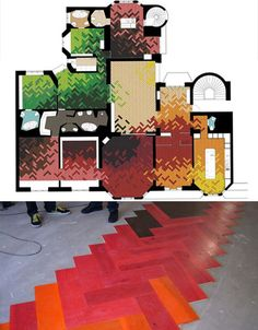 This modern, colored, enlarged version of parquet flooring by Tham & Videgård Hansson Arkitekte is fun, vibrant and full of possibilities. You'd have to have a pretty limited decor palette to pull this look off, but the architects certainly haven't shied away from making this flooring the focal point of this building's interior