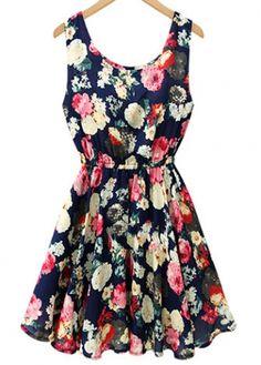Retro Round Neck Print Design A Line Dress