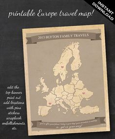 Travel Map - Printable Editable Europe Travel Map Instant Download -