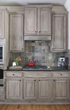 Best Valspar Aspen Grey And Black Glaze Glazed Kitchen 640 x 480