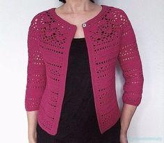 Crochet Blusas Design Irene - floral lace yoke cardigan Crochet pattern by Vicky Chan Designs Crochet Cardigan Pattern, Crochet Jacket, Crochet Blouse, Crochet Video, Free Crochet, Knit Crochet, Irish Crochet, Knitting Patterns, Crochet Patterns