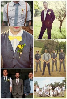How to dress your groomsmen. I particularly like the guys in suspenders
