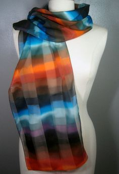 silk satin striped scarf painted in Blue brown orange watercolor striped hand by MuseSilkPaintings