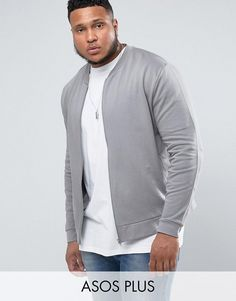 Get this Asos's bomber jacket now! Click for more details. Worldwide  shipping. ASOS PLUS Jersey Bomber Jacket In Grey With Embroidery - Grey:  Sweat bomber ...