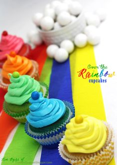 St. Patrick's Day: Rainbow Cupcakes & Gumball Clouds   Kim Byers, TheCelebrationShoppe.com  #rainbow #stpatricksday