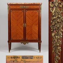 Paul Sormani (Italian/French, 1817-1877) Louis XVI Style Gilt Bronze Antique Cabinet