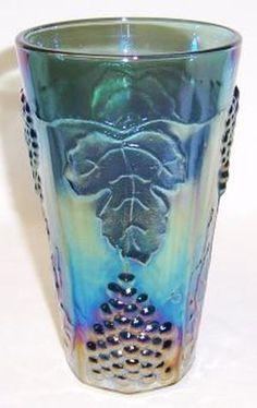 /indiana-glass-blue-carnival-harvest tumbler.