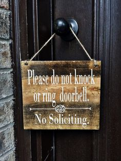 No Soliciting Sign 7x8 No Soliciting Door by TheWoodGrainHome