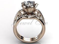 14k rose gold diamond unusual unique flower engagement by Jewelice