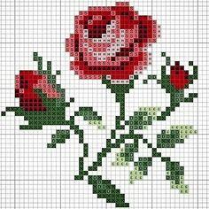 pattern / chart for cross stitch, knitting, knotting, beadi Funny Cross Stitch Patterns, Cute Cross Stitch, Cross Stitch Rose, Cross Stitch Flowers, Cross Stitch Charts, Cross Stitch Designs, Cross Stitching, Cross Stitch Embroidery, Beading Patterns