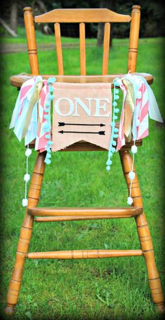 Aztec inspired birthday highchair banner, teepee, pow wow, Tribal theme for boy or girl, Peach and Mint, arrows,archery,garland,photo prop by PrettyLittleClippie on Etsy https://www.etsy.com/listing/227870341/aztec-inspired-birthday-highchair-banner