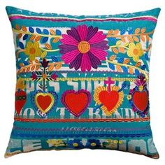 Cotton accent pillow with an embroidered Mexican-inspired motif.   Product: PillowConstruction Material: Cotton cover and polyester fillColor: MultiFeatures:  EmbroideryBack tie openingInsert included Dimensions: 22 x 22Cleaning and Care: Machine wash and drip dry