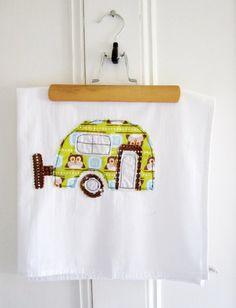 Tea Towel Appliqued Caravan Design - 100% Cotton on Etsy, $18.00