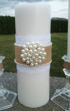 burlap unity candles set with pearl rhinestone crystal brooch Wedding Unity Candles, Romantic Candles, Beautiful Candles, Advent Candles, Diy Candles, Pillar Candles, Homemade Candles, Homemade Crafts, Shabby Chic Candle