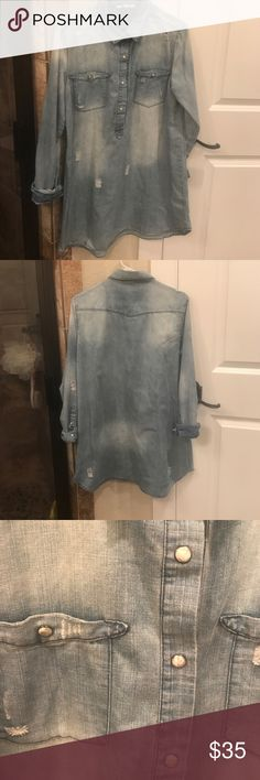 Distressed Denim Tunic Distressed Denim Tunic - Long Shirt - Dress with cute pearlized snap buttons. Tops Tunics
