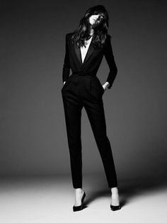 LOVE this all black outfit or jumpsuit! Gorgeous and extremely sexy! Grace Hartzel stars in Saint Laurent Paris' pre-fall ads Women's designer fashion clothing outfit Fashion Mode, Look Fashion, Womens Fashion, Trendy Fashion, Lifestyle Fashion, Office Fashion, Suit Fashion, Luxury Lifestyle, Daily Fashion
