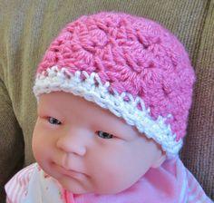 Crocheted Newborn Hat  Pink with white trim