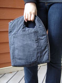 Repurposed Charcoal Stripe Bag  Charcoal by FoundObjectFashion, $68.00