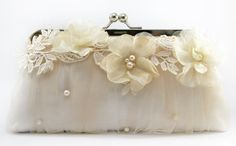 Bridal Clutch with Alencon Lace Organza Flower in by ANGEEW, $95.00