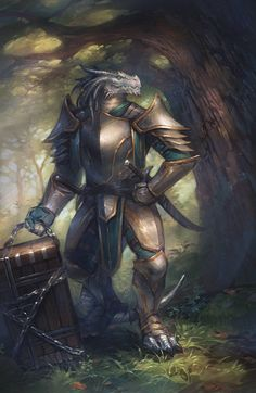 m Dragonborn White silver Fighter Paladin multi-class Plate Armor Dual Sword Chest Deciduous Forest Trail Male Half Dragon lg Fantasy Warrior, Fantasy Races, Fantasy Dragon, Fantasy Rpg, Medieval Fantasy, Fantasy Artwork, Dungeons And Dragons Art, Dungeons And Dragons Characters, Dnd Characters