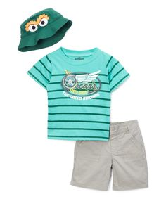 Take a look at this Green 'Oscar's Speed Shop' Stripe Tee & Shorts Set - Infant today!